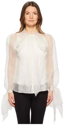 Marchesa Silk Organza Blouse w/ Bow Detail Women's Blouse