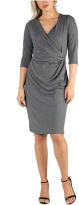 24seven Comfort Apparel Women Three Quarter Sleeve Knee Length Wrap Dress