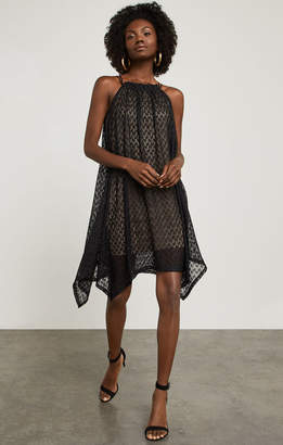 BCBGMAXAZRIA Asymmetrical Mesh Trapeze Dress