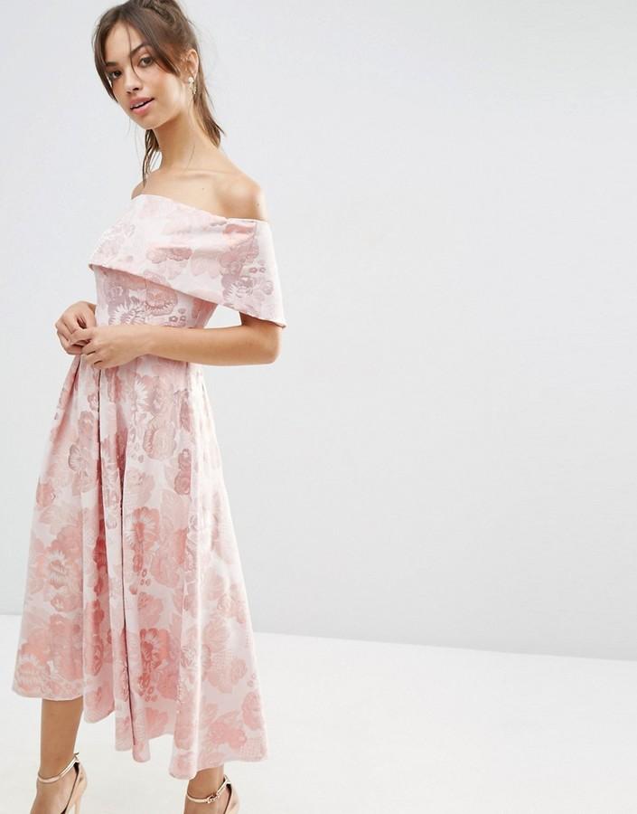 AsosASOS Pink Jacquard Fold Over Midi Prom Dress