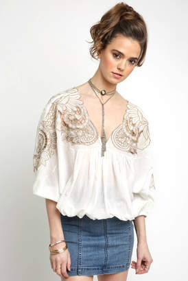 Free People Cut Work Dolman Embroidered V Neck Blouse