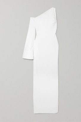 SOLACE London Siara One-sleeve Stretch-crepe Gown - White