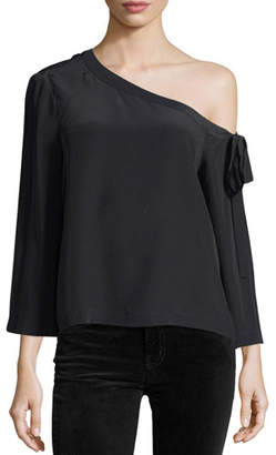 Robert Rodriguez Off-the-Shoulder Long-Sleeve Silk Blouse