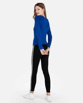Express Petite Fitted Jersey Bateau Neck Sweater