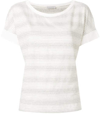 Le Tricot Perugia striped short-sleeve top