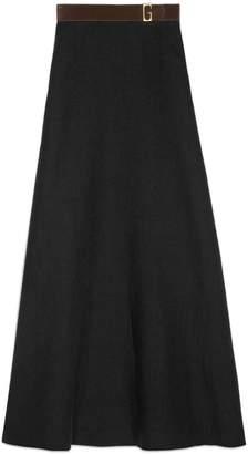 Gucci Linen canvas belted long skirt