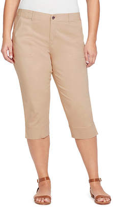 Gloria Vanderbilt Rhea Twill Capri with Elastic Waistband-Plus