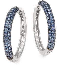 Effy Sapphire & 14K White Gold Hoop Earrings