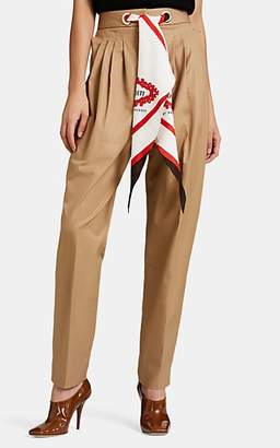 Burberry Women's Cotton Twill Tapered Trousers - Beige, Tan