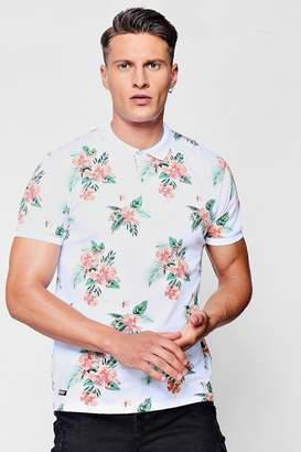 boohoo Hawaiian Print Polo T-Shirt