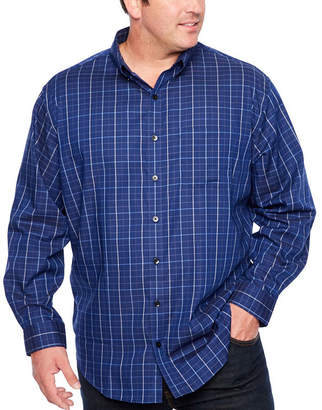 Van Heusen Flex Non-Iron Woven Long Sleeve Button-Front Shirt-Big and Tall