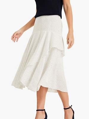 8663a4179c88 at John Lewis and Partners · Phase Eight Rhiannon Linen Polka Dot Skirt,  Ivory