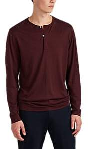 Theory Men's Plaito Silk-Cotton Long-Sleeve Henley - Wine