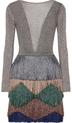 Missoni - Fringed Metallic Knitted Mini Dress - Silver $2,300 thestylecure.com