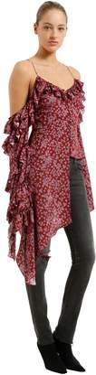 Magda Butrym Floral Print Polka Dot Silk Jacquard Top
