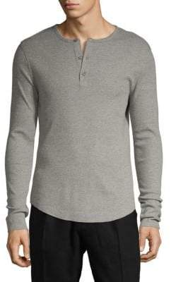 Vince Ribbed Long-Sleeve Henley