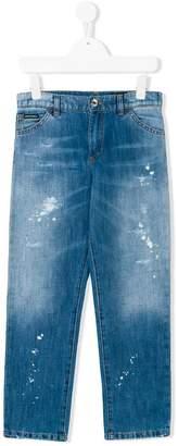 Dolce & Gabbana paint splatter straight jeans