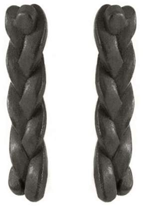 Baltera Classic Plait Nugget Stud Earrings - Black Patina