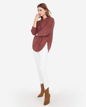 Express Extreme Circle Hem Cozy Chenille Hooded Sweater