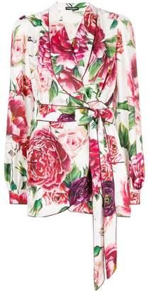 Dolce & Gabbana peony print wrap front blouse