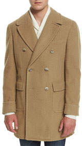 Double-Breasted Wool-Blend Pea Coat Camel