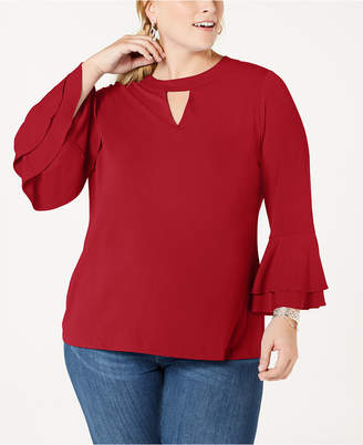 Charter Club Plus Size Keyhole Crepe Top
