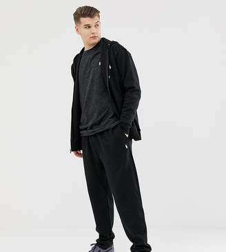Big & Tall cuffed joggers player logo in black