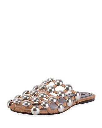 Alexander Wang Amelia Studded Suede Mule, Clay $595 thestylecure.com