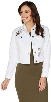 G.I.L.I. Got It Love It G.I.L.I. White Denim Jacket with Placed Embroidery