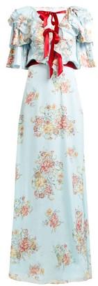 Rodarte Ruffled Floral Print Silk Satin Gown - Womens - Blue Multi
