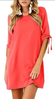pujingge-CA Women's Summer Casual Tie Sleeve Solid Color Mini Dress M