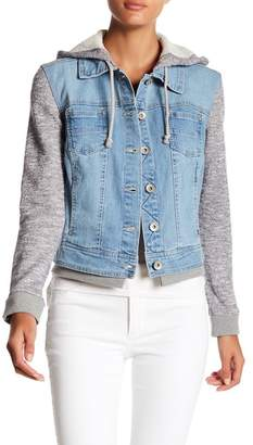 Live a Little Terry & Denim Hooded Jacket $78 thestylecure.com