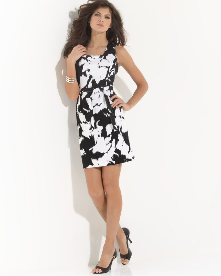 Jones New York Sleeveless Belted Floral Dress