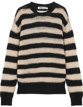 McQ Alexander McQueen - Striped Wool-blend Sweater - Black $350 thestylecure.com