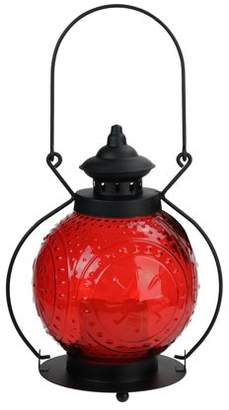 """Gerson 11"""" Red Molded Glass Lantern with Flameless LED Pillar Timer Candle"""