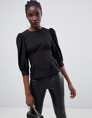 Warehouse pin tuck blouse in black