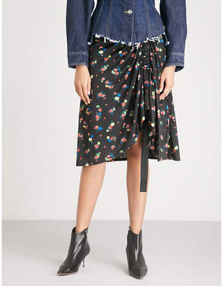 Mo&Co. Floral-pattern satin-jersey skirt