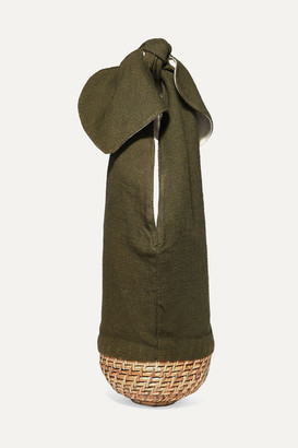 Emily Levine - Knot Cotton-canvas And Wicker Tote - Army green