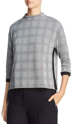 Three Dots Glen Plaid Mock Neck Top