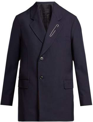 Toga - Scarf Panelled Wool Blazer - Womens - Navy