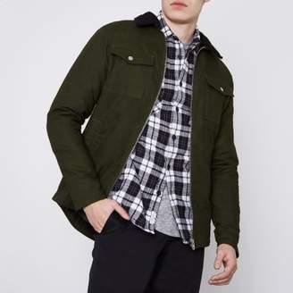 River Island Jack and Jones Core dark green fleece jacket
