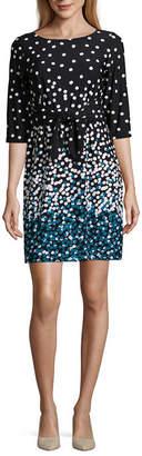 Studio 1 3/4 Sleeve Polka Dot Shift Dress-Petite