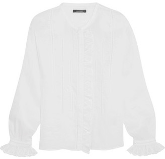 Isabel Marant - Amos Ruffled Broderie Anglaise Ramie Blouse - White $480 thestylecure.com