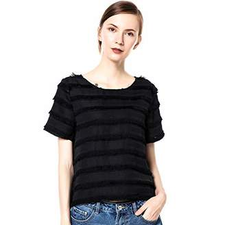 Womens Short Sleeve Crew Neck Tops Casual Blouse Shirt (XL)