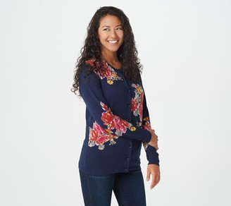 Factory Quacker Embellished Button Front Floral Cardigan