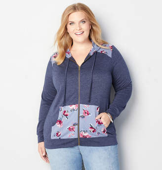 Avenue Floral Patch Zip Front Hoodie