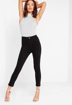 Missguided High Waisted Ankle Grazer Skinny Jean Black