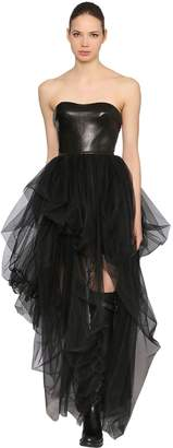 Ermanno Scervino Strapless Leather & Tulle Dress