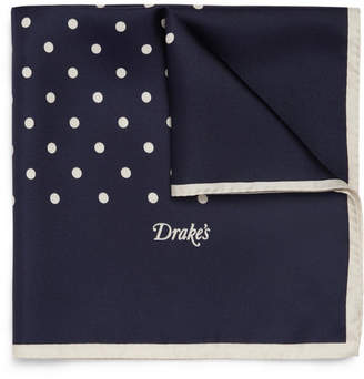 Drakes Drake's - Polka-Dot Silk Pocket Square