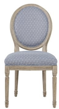 HomePop Louis Round Back Chair - Blue Diamond